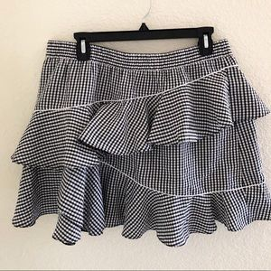 ASOS gingham tiered ruffle skirt